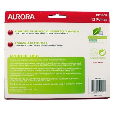Folhas Limpadoras e Lubrificadoras Aurora para Fragmentadoras, 12 unidades - SP1000