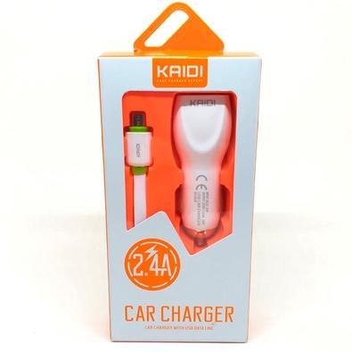 Carregador Veicular Kaidi 2.4A, 2 USB, 1m - KD-602