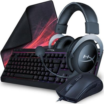 Kit Gamer HyperX - Teclado Gamer HyperX Alloy + Mouse Gamer HyperX Pulsefire + Headset Gamer HyperX Cloud Silver + Mousepad HyperX Fury S