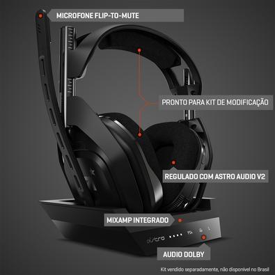 Headset Sem Fio ASTRO Gaming A50 + Base Station Gen 4 com Áudio Dolby para PS4, PC, Mac - Preto/Prata - 939-001674