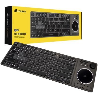 Teclado sem Fio Corsair K83, Bluetooth, Multimídia, US, Aluminio - CH-9268046-NA