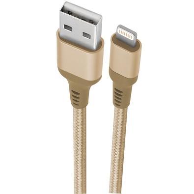 Cabo Lightning para iPhone MFI, 1m, Geonav Essential, Nylon Trançado, Dourado - ESLIGO