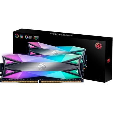 Memória XPG Spectrix D60G RGB 16GB, 3200MHz, DDR4, CL16, Cinza - AX4U3200316G16-ST60