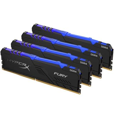 Memória HyperX Fury RGB, 32GB (4x8GB), 2666MHz, DDR4, CL16, Preto - HX426C16FB3AK4/32