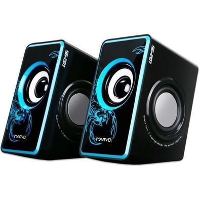 Caixa de Som Gamer Bright, 6W RMS, USB/P2, Preto e Azul - SG-201BL