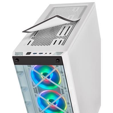 Gabinete Gamer Corsair iCUE 465X, Mid Tower, RGB, com FAN, Lateral e Frontal em Vidro, Branco - CC-9011189-WW