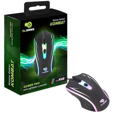 Mouse Gamer DL Games Kombat, LED RGB, 4 Botões - MX250PRE