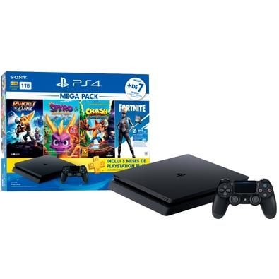 Console Sony Playstation 4 Hits Bundle Mega Pack 8, 1TB - Ratchet and Clank + Spyro Reignited Trilogy + Crash Bandicoot N´Sane Trilogy + Voucher para Fortnite Neo Versa - CUH-2214B