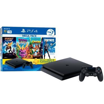 Console Sony Playstation 4 Hits Bundle Mega Pack 8, 1TB - Ratchet e Clank + Spyro + Crash Bandicoot + Voucher Fortnite Neo Versa - CUH-2214B