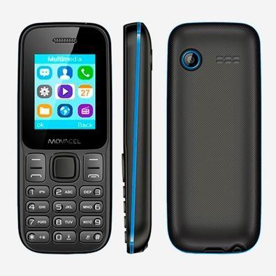 Celular Movacel A17, Câmera Traseira VGA, Lanterna, Bluetooth, Rádio FM, Dual Chip, Preto/Azul