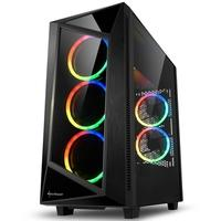 Gabinete Gamer Sharkoon REV200, Mid Tower, RGB, com FAN, Lateral em Vidro - REV200