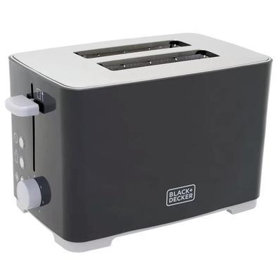Tostador Elétrico Black + Decker Tasty Toast, 7 Níveis de Tostagem, 110V, Inox e Cinza - TO800-BR