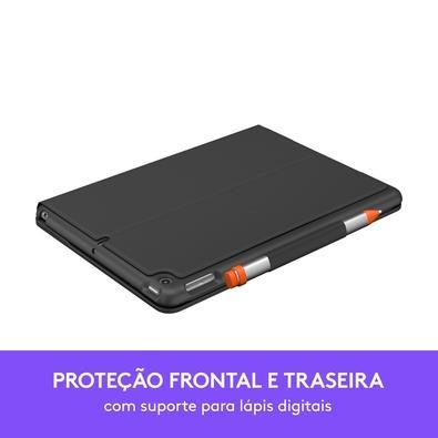 Capa com Teclado Logitech Slim Folio para iPad 3ª Geração com Conexão Bluetooth LE e Resistente à Quedas, Arranhões e Respingos - 920-009482