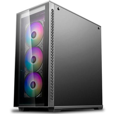 Gabinete Gamer Deepcool Matrexx 70, Mid Tower, RGB, com FAN, Lateral e Frontal em Vidro - DP-ATX-MATREXX70-BKG0P-3F