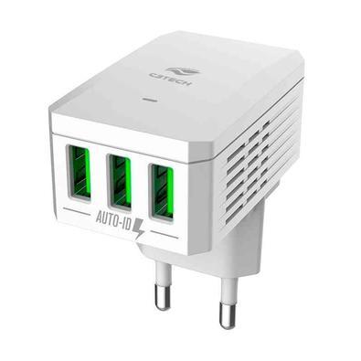 Carregador Universal de Tomada C3Tech, 3 USB, UK/US, Branco - UC-310WH