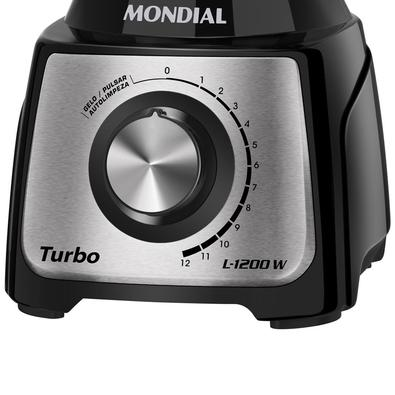 Liquidificador Mondial Turbo Black, 12 Velocidades, 1200W, 110V, Preto/Inox - L-1200 BI