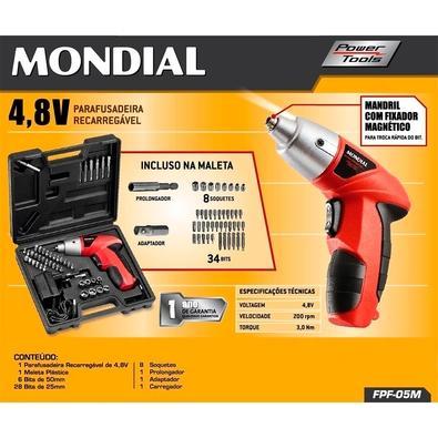 Parafusadeira Elétrica Mondial Power Tools, Recarregável, 4.8V, com Maleta - FPF-05M