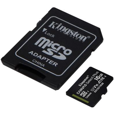 Cartão de Memória Kingston Canvas Select Plus MicroSD 16GB Classe 10 com Adaptador, para Câmeras Automáticas/Dispositivos Android - SDCS2/16GB