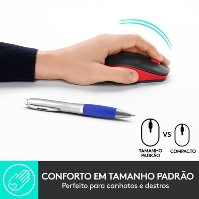 Mouse sem fio Logitech M190 com Design Ambidestro de Tamanho Padrão, Conexão USB e Pilha Inclusa, Vermelho - 910-005904