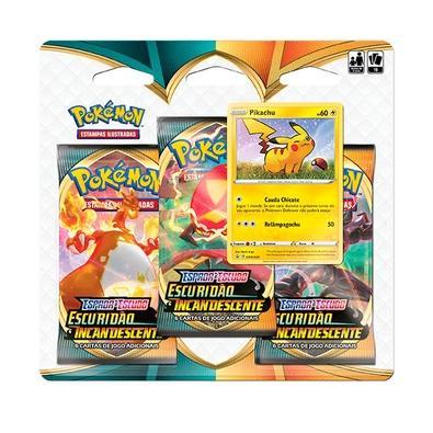 Blister Triplo Pokémon Espada e Escudo 3, Escuridão Incandescente, Pikachu - 89089