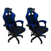 kit 2 Cadeiras Gamer PlayerXTreme Executiva Escritório, PU, Azul