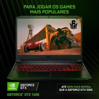 Notebook Gamer Acer Aspire Nitro 5 Intel Core i7 9750H, 16GB, 512GB SSD, Nvidia GTX1650 4GB, 15.6´, Endless, Preto e Vermelho - AN515-54-79YX