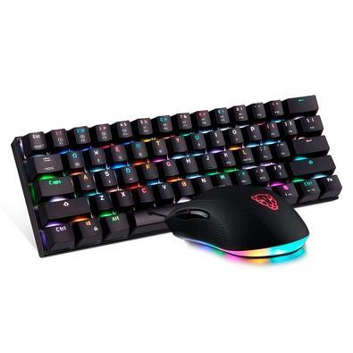 Kit Gamer Motospeed 60% Preto RGB - Teclado Mecânico Sem Fio CK62, Switch Azul, Anti-Ghosting ANSI + Mouse V60 10000DPI, USB 2.0 - FMSCB114PTO