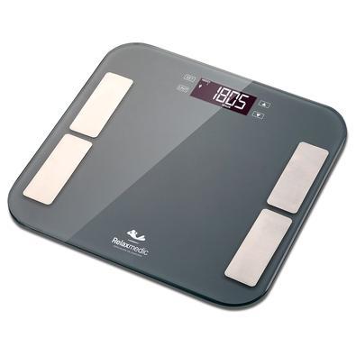 Balança Digital Relaxmedic Bioimpedância Sport Fisio, para até 180kg, Visor LCD, Luz de Fundo, 13 Usuários, Cinza - RM-BD5142A