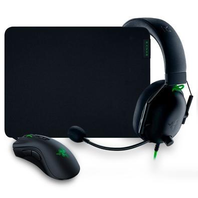 Kit Gamer Razer Battle Bundle, Mouse Gamer DeathAdder V2 + Headset Gamer BlackShark V2 X + Mousepad Gigantus V2, Preto - RZ85-03240100-B3U1