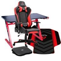 Cadeira Gamer Alpha Gamer Zeta Black/Red + Mesa Gamer Husky Gaming Storm Black/Red 100 + Tapete Alpha Gamer Decan Red + Apoio de Pé Husky
