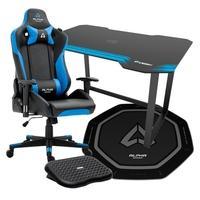 Cadeira Gamer Alpha Gamer Zeta Black/Blue + Mesa Gamer Fortrek Azul + Tapete Gamer Alpha Gamer Octan Preto + Apoio de pé Husky