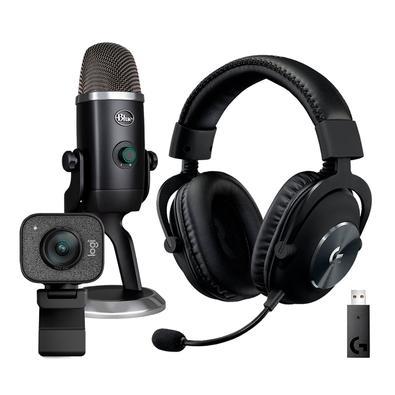 Kit Streamer Microfone Condensador Blue Yeti X USB + Headset Gamer Sem Fio Logitech G Pro X Wireless + WebCam Logitech StreamCam Plus Full HD
