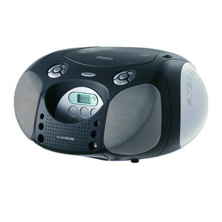 Rádio Portátil Philco - CD, MP3, USB, Aux. e FM 10W RMS Bivolt Preto/Prata - PB120N 056603044