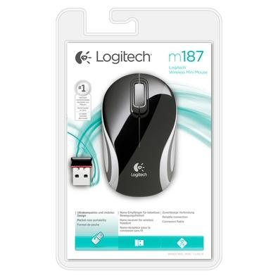 Mini Mouse Logitech M187 Sem fio Preto - 910-004155