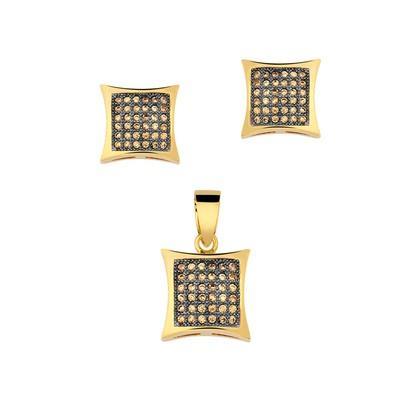 Conjunto Quadrado Champagne com Micro Zircônias - CJZYE-0134-CH