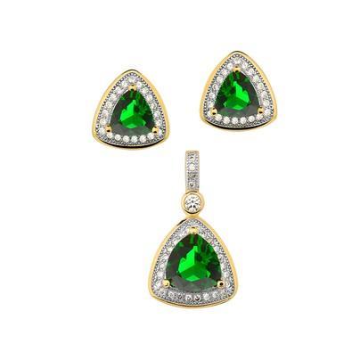Conjunto de Brincos e Pingente Triangular Verde Esmeralda com Micro Zircônias - CJZY-T112-White