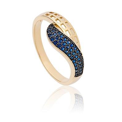 Anel Dourado com Micro Zircônias Safira Azul Tamanho 24 - ANZ0687