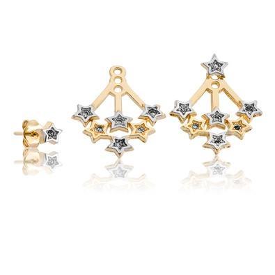 Brinco Ear Jacket Estrelas com Ouro Branco - BK2824