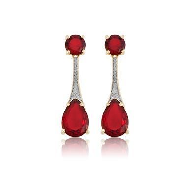 Brinco Vermelho Rubi e Ouro Branco - BKD0090