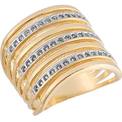 Anel Dourados com Zircônias Tamanho 18  - AN700230F