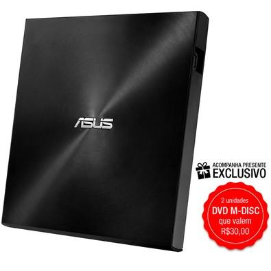 Drive ASUS Gravador Externo CD/DVD ZenDrive U7M, Ultra-Slim, 2 M-DISC incluídos, Compatível Windows e MAC - SDRW-08U7M-U/BLK/G/AS