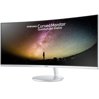 Monitor Samsung LED 34´ Ultrawide Curvo, WQHD, HDMI/Display Port, FreeSync, Som Integrado, Altura Ajustável, Branco - LC34F791WQLXZD