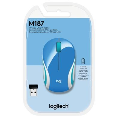 Mini Mouse Logitech M187 Sem Fio Azul 1000DPI - 910-005360