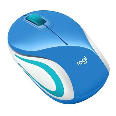 Mini Mouse sem fio Logitech M187 com Design Ambidestro, Conexão USB e Pilha Inclusa, Azul - 910-005360