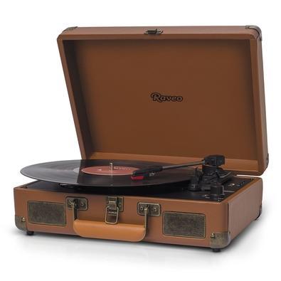 Toca Discos Vitrola Raveo Sonetto - MP3, USB Reproduz e Grava, Aux. 10W RMS Marrom