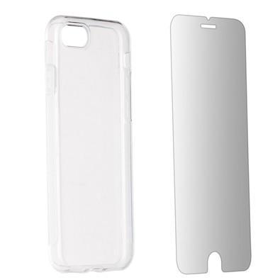 Kit 2 em 1 Celular Mart - Película de Vidro e Case de Silicone Transparente para iPhone 7/8