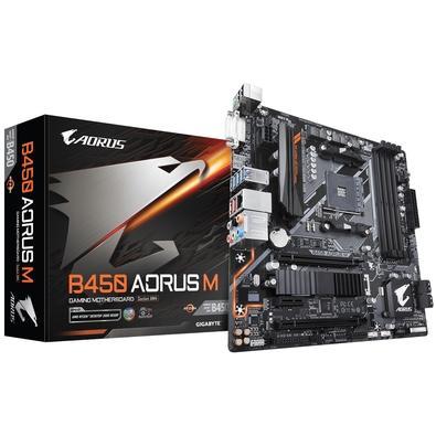 Placa-mãe Gigabyte B450 Aorus M, AMD AM4, mATX, DDR4