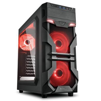 Gabinete Gamer Sharkoon VG7-W, Mid Tower, LED Vermelho, 3 Coolers, Lateral em Acrílico, Preto