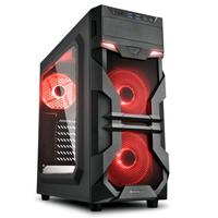 Gabinete Gamer Sharkoon VG7-W, Mid Tower, LED Vermelho, 3 Coolers, Lateral em Acrílico, Preto