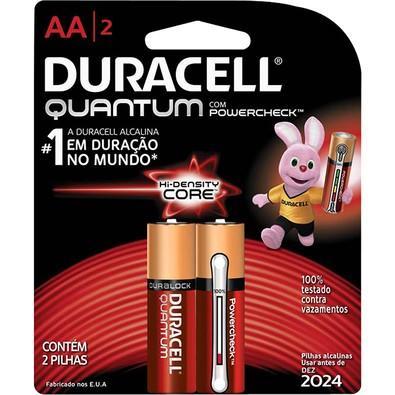 Pilha Duracell Alcalina AA Quantum PowerCheck com 2 Unidades - 66981
